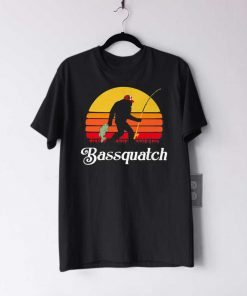 Bassquatch Bigfoot Fishing Sunset T Shirt